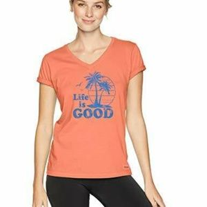 Life is Good Womens T-Shirt Palm Trees